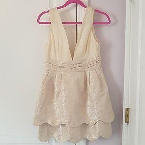 Cream V-Neck Part Dress
